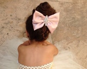 Blush Pink Elegant Pink Big Bow Hair Clip by Isabella Couture - ALL COLORS
