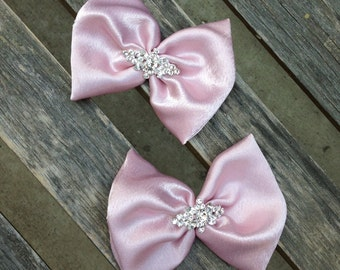 Set of 2 mini Pink Bows by Isabella Couture - Pink Bow Hair Clips - ALL COLORS