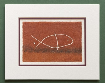 Fish - Hawaiian Petroglyph Design  on Tapa Cloth - Matted and READY TO FRAME