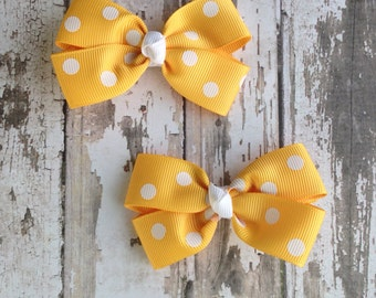 Yellow and White Pig Tail Bow Set - Yellow Gold  Hair Bow Set