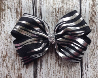 Zebra Hair Bow - Black and Silver Hair Bow