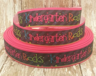 7/8 Grosgrain Kindergarten Rocks Ribbon 2 yards