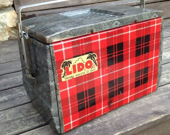 Vintage cooler in the scotch pattern with snake skin  pattern and the sides