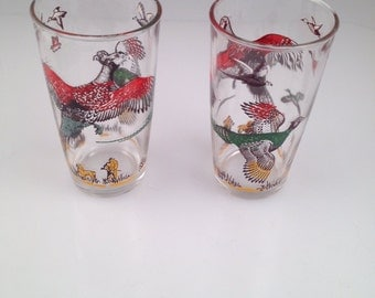 A pair of Vintage hazel atlas pheasant drinking  glasses