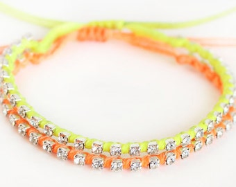 Friendship bracelet, neon bracelet, summer bracelet, rhinestone chain bracelet, neon yellow, neon orange, best friend birthday gift