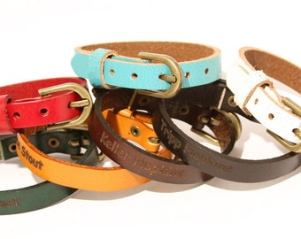Personalized Leather Band Bracelet Buckle Buckled. Black Brown Tan Red Blue Green White Teal Custom Customized Engraved Engraving B051-PS
