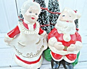 SALE-Vintage Santa Claus and Mrs. Claus Figurines - 1981 ceramic hand painted Christmas decor from the North Pole