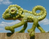 Camille the Needle Felted Chameleon. Handmade lovely lizard by Kat Wedmore.