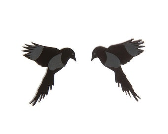 Magpie earrings - laser cut etched acrylic