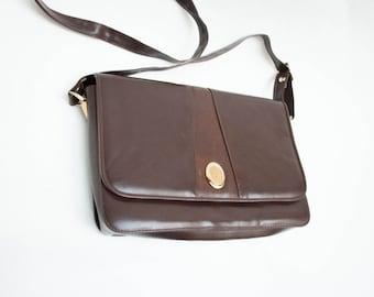 Vintage Dark Choco Brown Leather Purse Handbag Classic Women's Bag