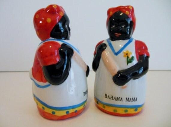 VINTAGE MAMMY Salt & Pepper Shakers ~ Black Americana ~ Bahama Mama