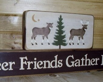 Ready to ship * Deer Friends Gather Here, Word Art, Wood Blocks