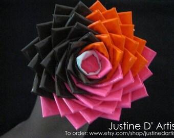 Brown, Pink , & Orange Duct Tape Rose Pen