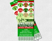 UGLY SWEATER TICKET Invitations Christmas Holiday Party - (print your own) Personalized Printable