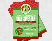UGLY SWEATER INVITATIONS Christmas Party (print your own) Personalized Holiday Printable