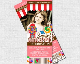 CANDY TICKET INVITATIONS Sweet Shop (Shoppe) Birthday Party (print your own) Personalized Printable