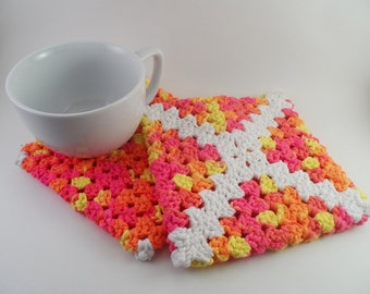 Pink, Orange, and Yellow Retro Granny Square Pot Holders set of 2