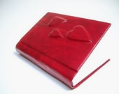 Valentine's Day Red Journal, red hearts - vegan leather book - red valentine's miniature book, diary, hearts - RilegatoaMano
