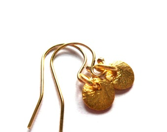 Tiny gold dot earrings-14k gold vermiel- free shipping- drop dangle- gold over sterling silver