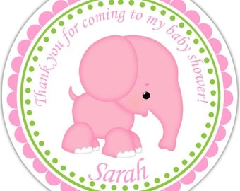Pink Elephant - Personalized Stickers, Party Favor Tags, Thank You Tags, Gift Tags, Address labels, Baby Shower
