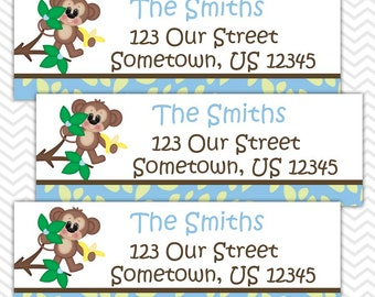 Blue Monkey  - Personalized Address labels, Stickers, Baby Shower