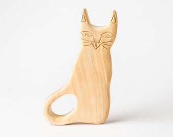 Baby Rattle Teether - Wooden Unique Engraved Cat Teether