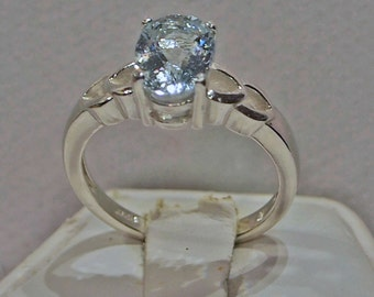 Aquamarine Ring, 1.57 Carat, Sterling Silver Ring, Oval Portuguese Cut, Double V Design, Size 6 3/4