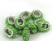 10x6mm NEW (2) Lt. Green Rhinestone Spacers fits 10x6mm Licorice Leather Jewelry Supplies and Beads and Craft supplies