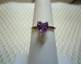 Heart Cut Amethyst Ring in Sterling Silver   #818