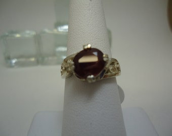 Oval Cut Ruby Ring in Sterling Silver