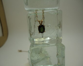 Oval Cut Tourmaline Necklace in Sterling Silver