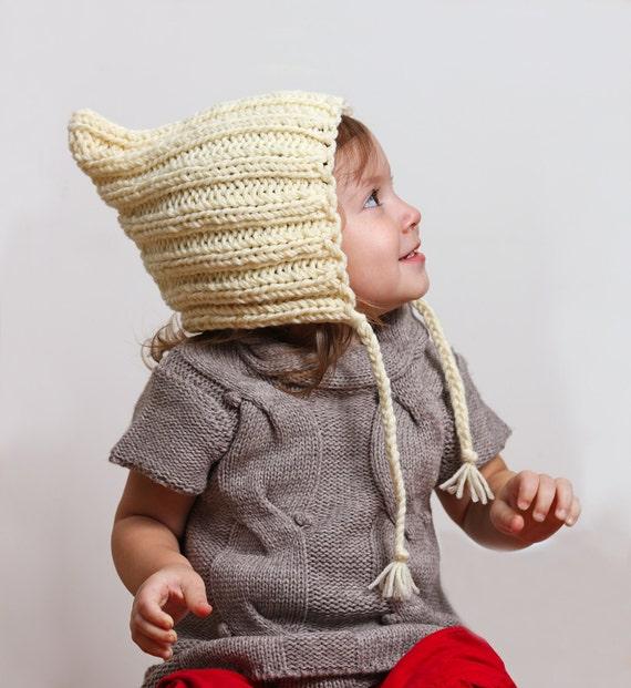 Elf Beanie Knitting Pattern : Baby Girl Hat Baby Girl Beanie Knit Elf Hat Knit Baby by ...