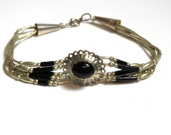 Sterling Silver Onyx Bracelet - Weight 6.9 Grams