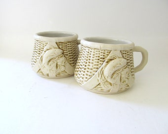 On Sale! New Year Discount Ceramic Fisherman Basket Weave Mugs