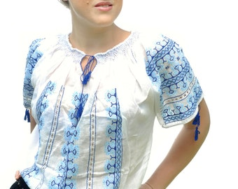 Romanian ethnic white blouse with blue embroidery