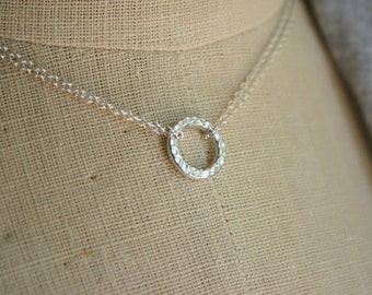 Sterling silver necklace with hammered ring, double strand