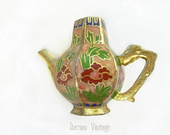 Vintage Cloisonne Miniature Art Deco Coffee Pot, Lid Missing