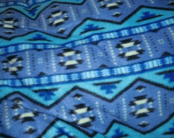 Native American Print Fleece Poncho in Blue Shades  Clint Eastwood Style  FREE Domestic Shipping
