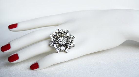 art deco clear crystal swarovski rhinestone adjustable ring wedding bridesmaids gifts birthday gifts