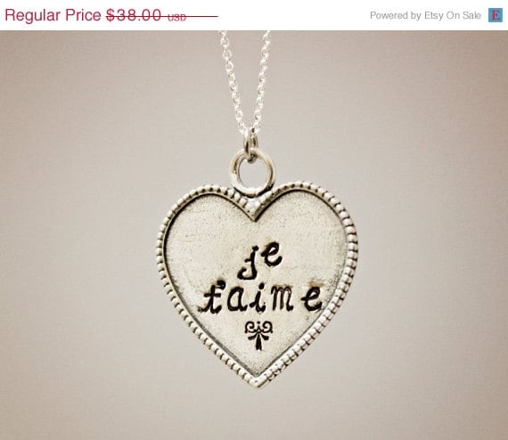 SALE - Je t'aime (I love you) - Hand Stamped Necklace - Sterling Silver Heart - Custom Made - Can be personalized by request