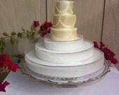 Vintage Cake Plate Pedestal, Gold Trim, Cut Glass 14 inches, Cupcake, Pie, Dessert Buffet