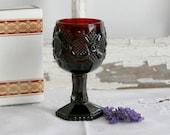 Vintage Avon 1876 Cape Cod Collection Wine Goblet cranberry burgundy red original box