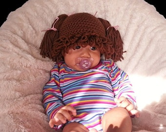 Cabbage Patch inspired Hat, baby wig, Brown hair, handmade crochet cabbage patch beanie