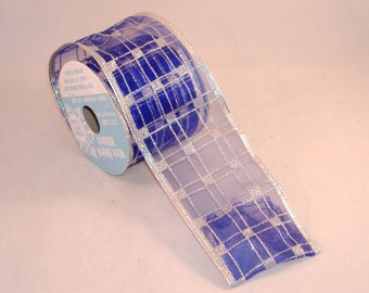 Blue and Silver Checkerboard Sheer & Shiny Wire Edge Ribbon - BTY - Destash