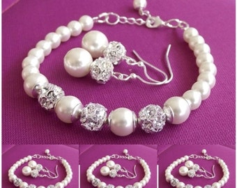 bridesmaid jewelry, set of 6, pearl bridesmaid bracelet & earring sets, wedding jewelry set, bridesmaid gift pearl jewelry
