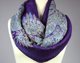 Fern infinity scarf, Purple scarf , fall scarf, winter scarf, Amethyst scarf