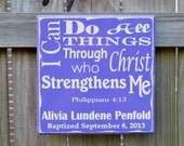 Personalized Bible verse Wall Decor, Custom Wood Sign, Great Confirmation, Baptism or Graduation Gift
