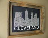 Cleveland Skyline Word Art Print (Dark Blue)
