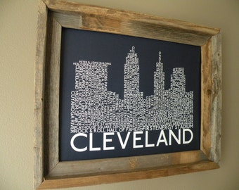 Cleveland Skyline Word Art Print (Dark Blue) - Unframed