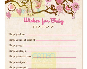 Pink and Brown Birds Baby Shower Wishes for Baby  - Pink and Brown Birds WIshes for Baby - Pink Brown vintage Birds Baby Shower Wishes Card